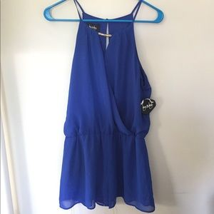 Blue By&By Romper with Gold Accent